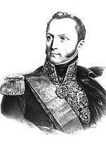 Black and white print of man with long sideburns in a dark military uniform with lots of gold braid