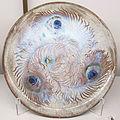 Auguste delaherche, piatto con occhi di pavone, parigi 1887-1894 ca..JPG