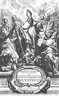 The title page of Augustinus by Cornelius Jansen, published posthumously in 1640.  The book formed the foundation of the subsequent Jansenist controversy.