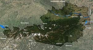 Outline of Austria - An enlargeable satellite map of Austria