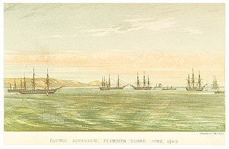Flying Squadron (1869) - Image: B(1871) p 015 FLYING SQUADRON, PLYMOUTH SOUND, JUNE, 1869