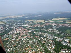 Aerial view from the south of Büren