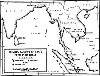 A black and white map of eastern India, Sri Lanka and Southeast Asia. Most of the cities depicted on the map are marked with bomb symbols.