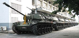 2006 Thai coup d'état - Armoured vehicles (M41 Walker Bulldog) parked inside the compound of the Headquarters of the 1st Army