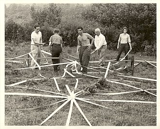 Black Mountain College - Buckminster Fuller and students assemble a geodesic dome, 1948