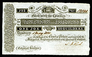 Banknotes of Demerary and Essequibo - Image: BR GUI A1 Demerary & Essequebo One Joe (22 Guilders)(1830s)