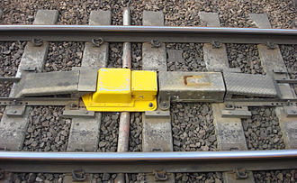 Harrow and Wealdstone rail crash - Automatic warning system magnet located between the rails