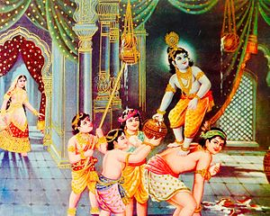 Krishna Janmashtami - Some communities celebrate Krishna's legends such as him as a Makkan chor (butter thief).