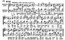 """""""O Haupt voll Blut und Wunden"""": the four-part chorale setting as included in the St. Matthew Passion (Source: Wikimedia)"""