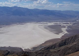 Salt-filled basin in Death Valley National Park, containing the lowest point in North America