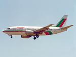 Balkan Bulgarian Airlines Boeing 737-500 LZ-BOC LIS 1992.png