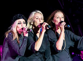 Bananarama - The original line-up in 2018. Left to right: Siobhan Fahey, Sara Dallin, Keren Woodward