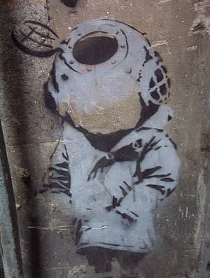 Stencil by Banksy in Melbourne
