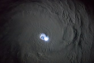 Tropical cyclone - Thunderstorm activity in the eyewall of Cyclone Bansi as seen from the International Space Station, on January 12, 2015