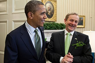 Irish-American Heritage Month - Image: Barack Obama and Enda Kenny in the Oval Office 2012
