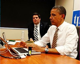 "Barack Obama on social media - Obama ""using Twitter"" on May 24, 2012 in response to hashtagged questions"