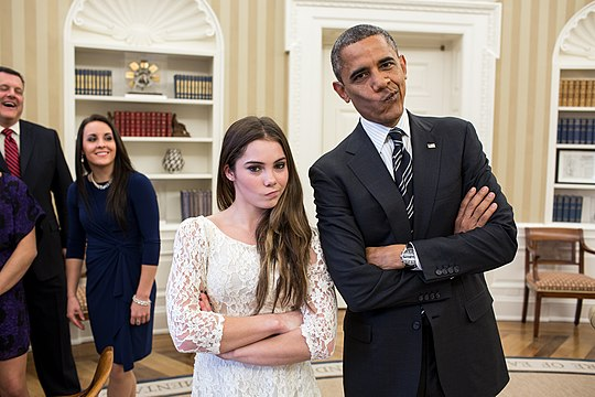 Barack Obama with artistic gymnastic McKayla Maroney.jpg