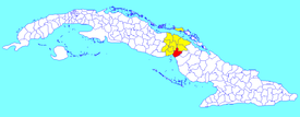 Baraguá municipality (red) within  Ciego de Ávila Province (yellow) and Cuba