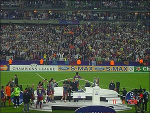2006 UEFA Champions League Final - The Barcelona players receiving their medals