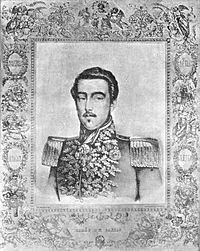 Lithograph depicting a dark-haired young man with moustache wearing a heavily embroidered military tunic with epaulettes and several medals and orders at his neck