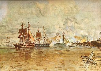 Anglo-French blockade of the Río de la Plata - The Battle of Vuelta de Obligado, as depicted by Manuel Larravide (1871–1910)