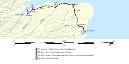 Cumberland's route from Aberdeen towards Culloden. Battle of Culloden (campaign map 01).png