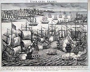 Battle of Swally - Eighteenth-century engraving showing the battle of Swally delivered on 9-10 December 1612 between ships of the Bristish East India Company and the Portuguese Navy
