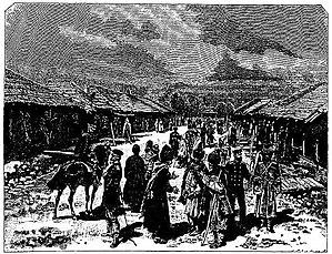 Samurzakano - Image: Bazaar in Okumi (Roskoschny, 1884)