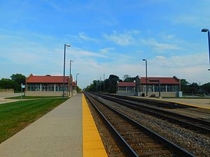 Belmont station (Metra) - The station at Belmont in September 2016.