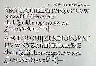 "Ascender (typography) - The font Bembo in metal type. Ascenders such as the ""f"" stand far above the cap line."