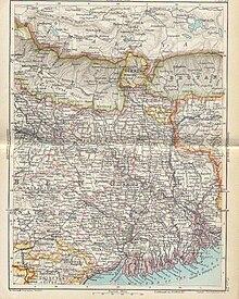 Mappa della provincia del Bengala, 1893