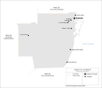 Benito Juárez Municipality, Quintana Roo - Map of Benito Juárez municipality