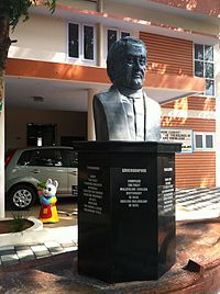 The statue of Benjamin Bailey at the CMS Press compound, Kottayam