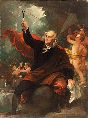 Kite experiment - An artistic rendition of Franklin's kite experiment painted by Benjamin West.