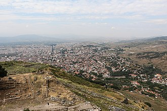 Battle of Bergama - The town of Bergama in 2014, seen from the ancient acropolis of Pergamon