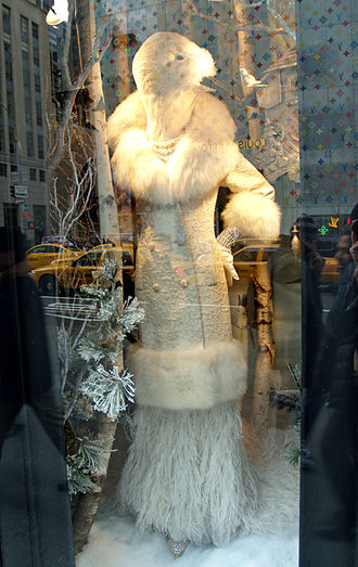 Bergdorf Goodman - A Badgley Mischka fur coat on display in the window of Bergdorf Goodman's Fifth Avenue store.