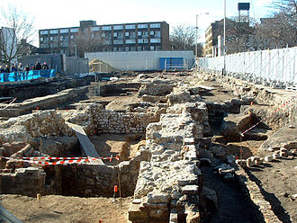 Bermondsey Abbey - Another view of the archaeological dig from Tower Bridge Road