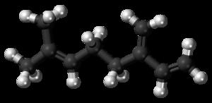 Myrcene - Image: Beta Myrcene molecule ball