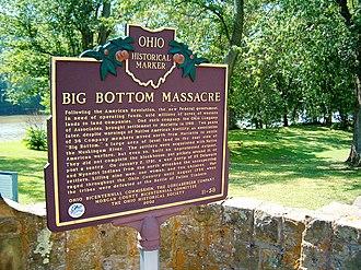 Big Bottom massacre - Plaque at the site of the Big Bottom massacre
