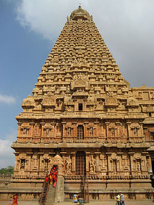 India - The granite tower of Brihadeeswarar Temple in Thanjavur was completed in 1010 CE by Raja Raja Chola I.