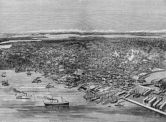 History of Seattle - Bird's-eye view of Seattle in 1889