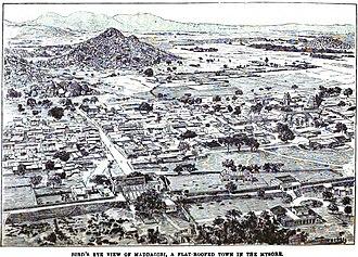 Madhugiri - Bird's Eye View of Maddagiri, A Flat-Roofed Town in Mysore (p.121, 1890), London Missionary Society