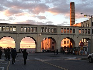 Brooklyn Army Terminal - The terminal as seen at sunset