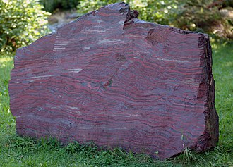Banded iron formation - 2.1 billion year old rock showing banded iron formation