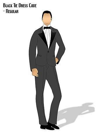Dress code - A visual on what Black Tie dress code looks like.