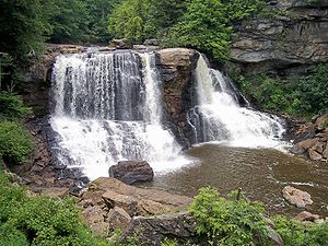 Pottsville Formation - Blackwater Falls in West Virginia. The major ledge is Connoquenessing sandstone of the Middle Pottsville Formation.