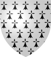 Coat of arms of the Dukes of Brittany from 1312; described by one of the few known one-word blazons in existence, simply Ermine.