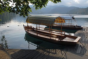 "Rowboats ""Pletna"" on the Lake Bled, ..."