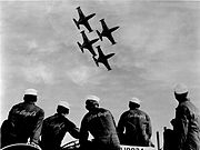 Blues Support Crew watching Diamond Formation at Show