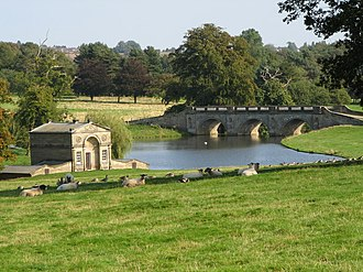 Markeaton Brook - Kedleston Hall - Boat House and Bridge, where the brook has been landscaped into a series of lakes.